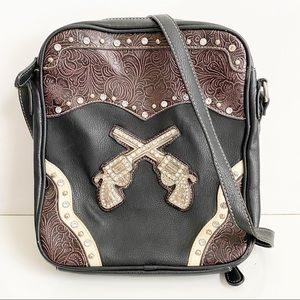Crossed Revolver Tooled Concealed Carry Crossbody